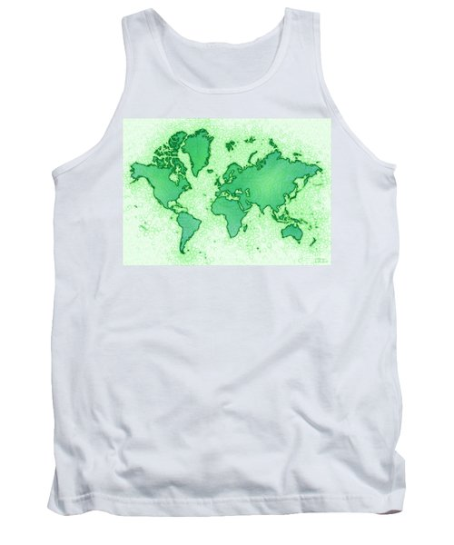 World Map Airy In Green And White Tank Top by Eleven Corners