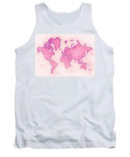 World Map Airy In Pink And White Tank Top