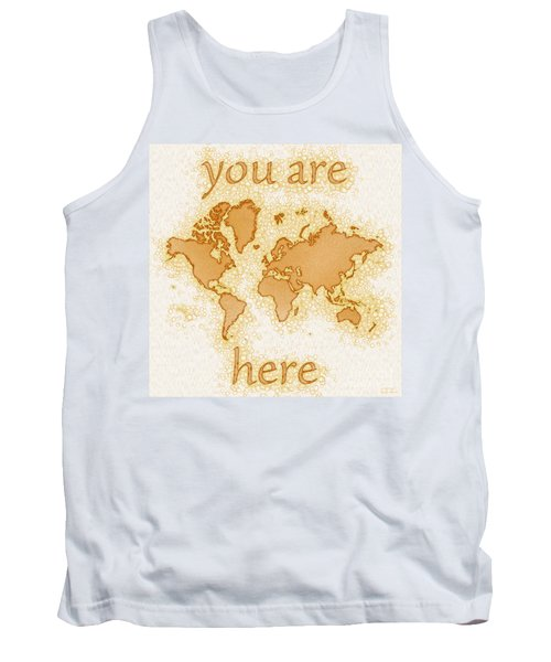 World Map Airy You Are Here In Brown And White  Tank Top