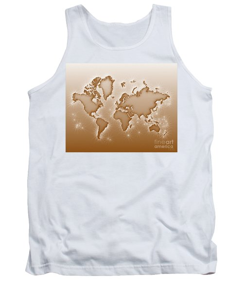 World Map Opala In Brown And White Tank Top by Eleven Corners