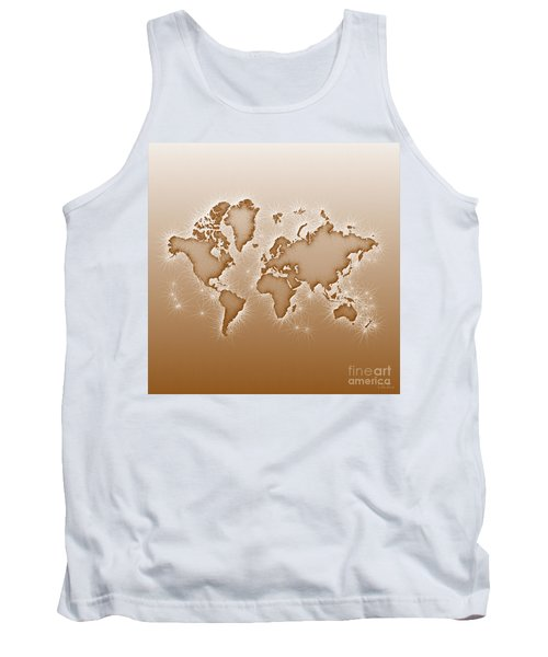 World Map Opala Square In Brown And White Tank Top