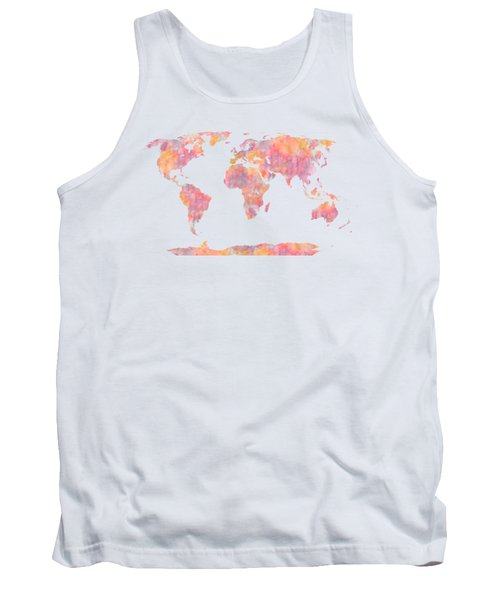World Map Watercolor Painting Tank Top by Georgeta Blanaru