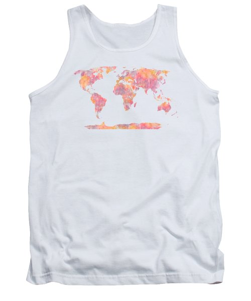 World Map Watercolor Painting Tank Top
