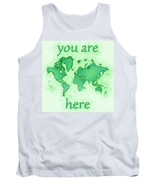World Map You Are Here Airy In Green And White Tank Top