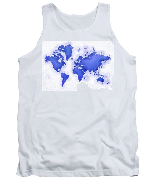 World Map Zona In Blue And White Tank Top