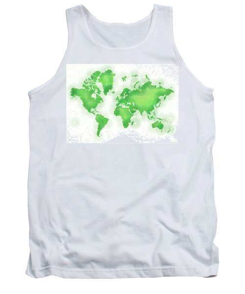 World Map Zona In Green And White Tank Top