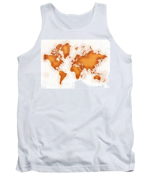 World Map Zona In Orange And White Tank Top