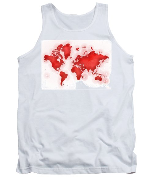World Map Zona In Red And White Tank Top