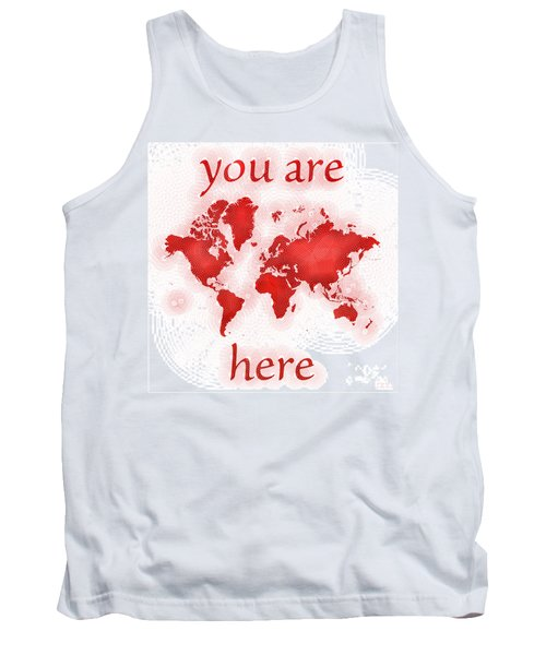 World Map Zona You Are Here In Red And White Tank Top by Eleven Corners