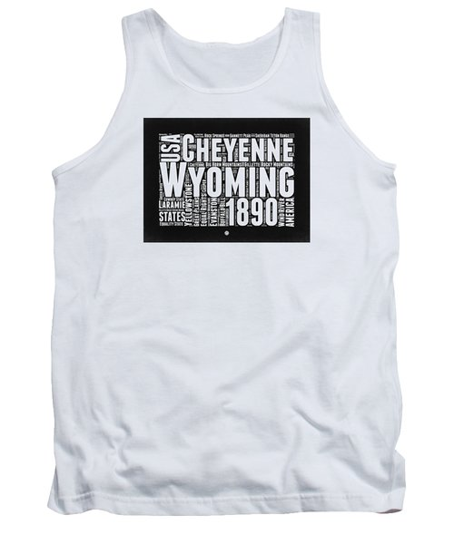 Wyoming Black And White Word Cloud Map Tank Top