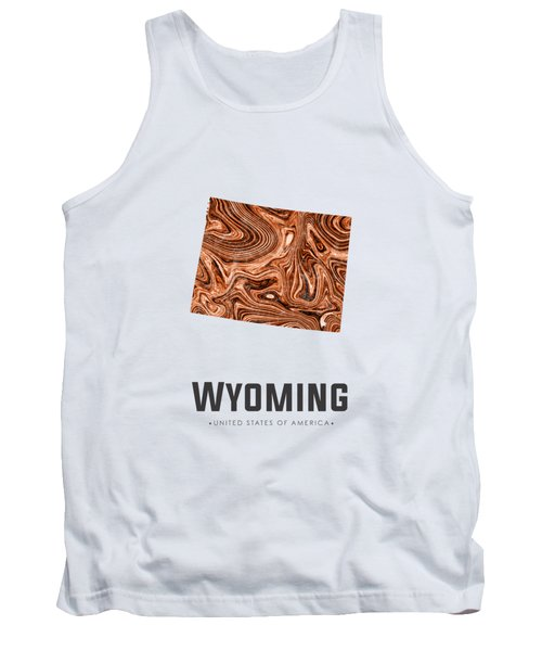 Wyoming Map Art Abstract In Brown Tank Top