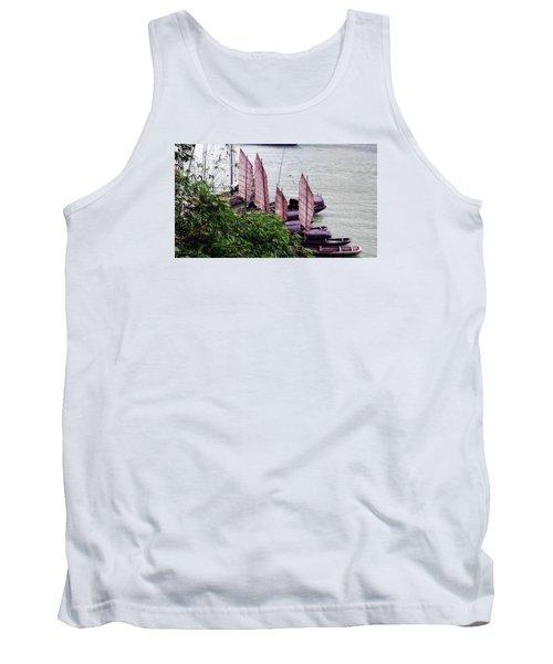 Tank Top featuring the photograph Yangtze Boats by Vicky Tarcau