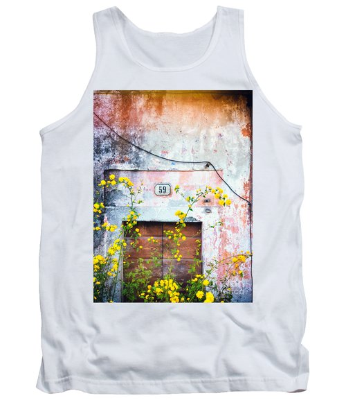 Yellow Flowers And Decayed Wall Tank Top
