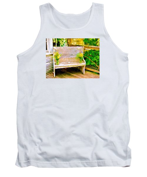Yellow Flowers On Porch Bench Tank Top