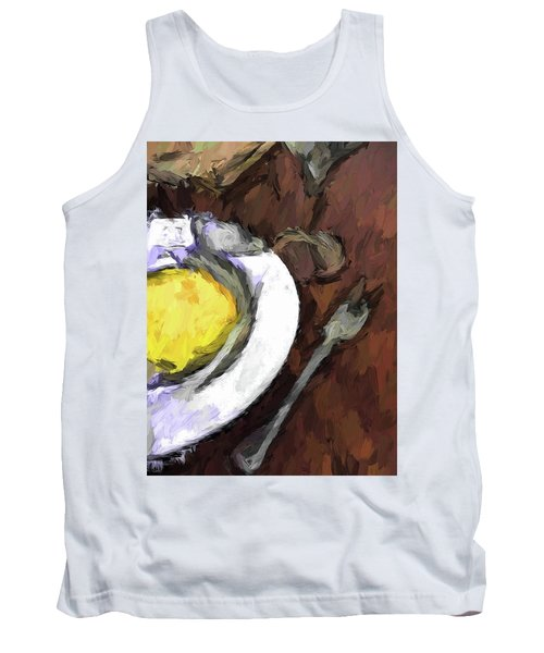 Yellow Lemon In A White Bowl With A Fork And A Wine Glass Tank Top