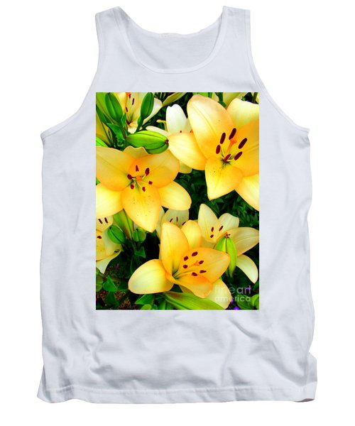 Tank Top featuring the photograph Yellow Lilies 3 by Randall Weidner