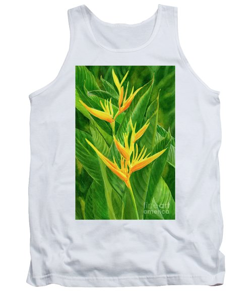 Yellow Orange Heliconia With Leaves Tank Top