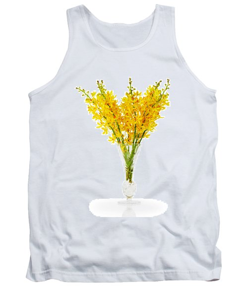 Yellow Orchid In Crystal Vase Tank Top