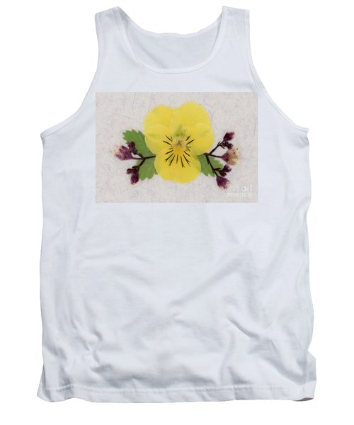 Yellow Pansy And Coral Bells Pressed Flowers Tank Top