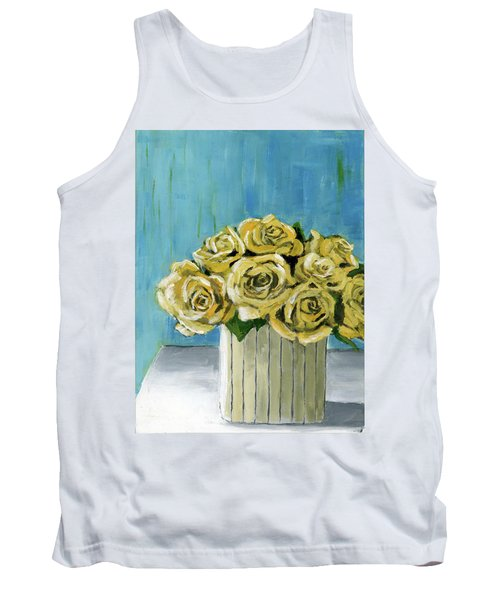 Yellow Roses In Vase Tank Top