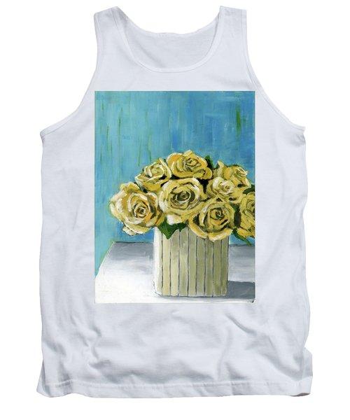 Yellow Roses In Vase Tank Top