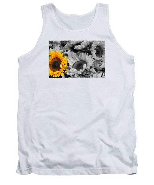 Yellow Sunflower On Black And White Tank Top