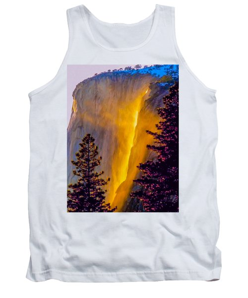 Yosemite Firefall Painting Tank Top by Dr Bob Johnston