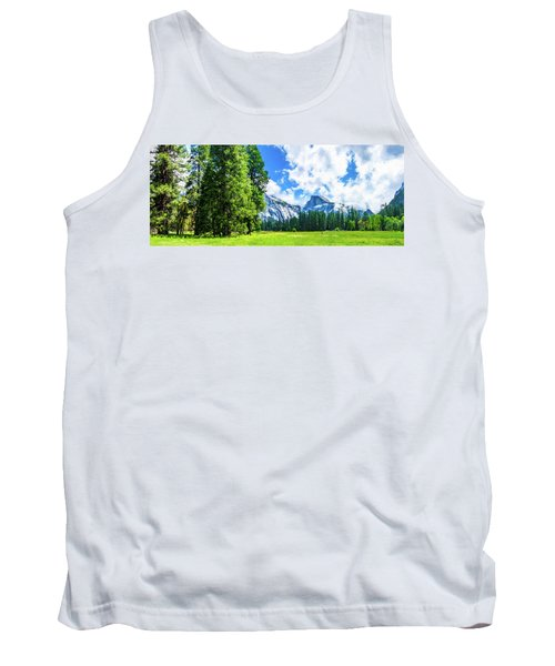 Yosemite Valley And Half Dome Digital Painting Tank Top