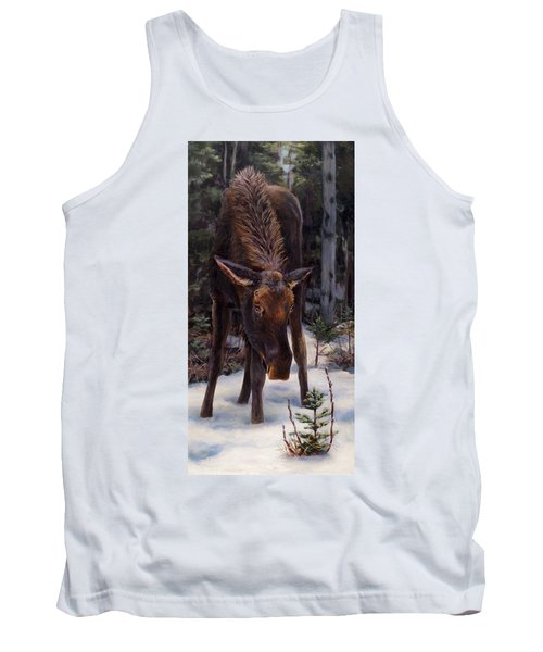 Tank Top featuring the painting Young Moose And Pussy Willows Springtime In Alaska Wildlife Painting by Karen Whitworth