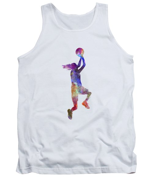 Young Woman Basketball Player 05 In Watercolor Tank Top by Pablo Romero