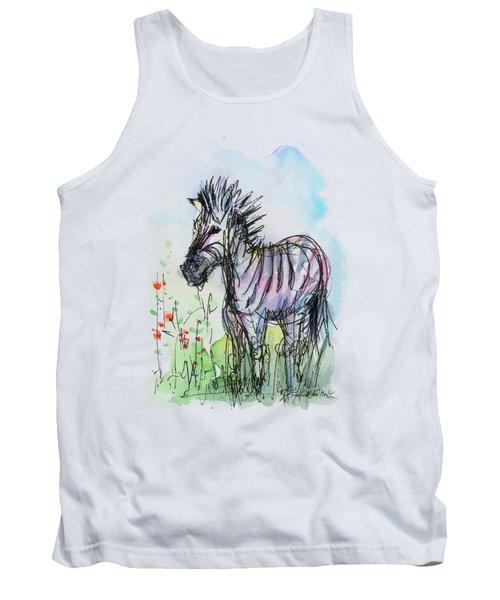 Zebra Painting Watercolor Sketch Tank Top