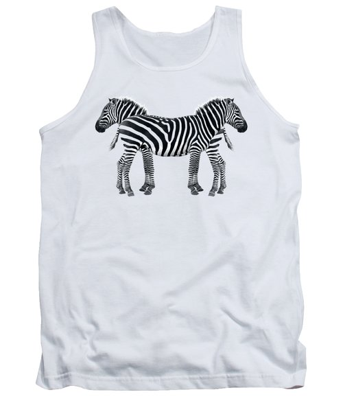 Tank Top featuring the photograph Zebra Pair On Black by Gill Billington