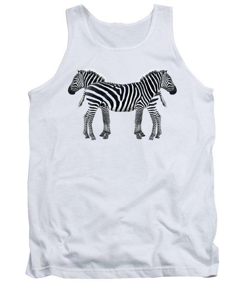 Zebra Pair On Black Tank Top