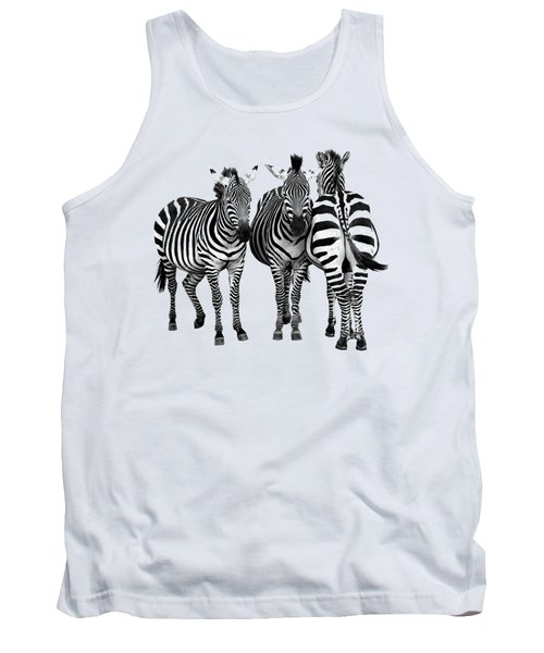 Tank Top featuring the photograph Zebra - Three's A Crowd by Gill Billington