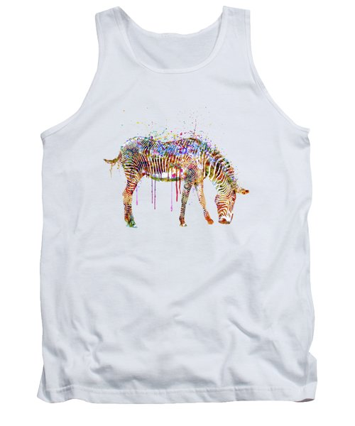 Zebra Watercolor Painting Tank Top by Marian Voicu