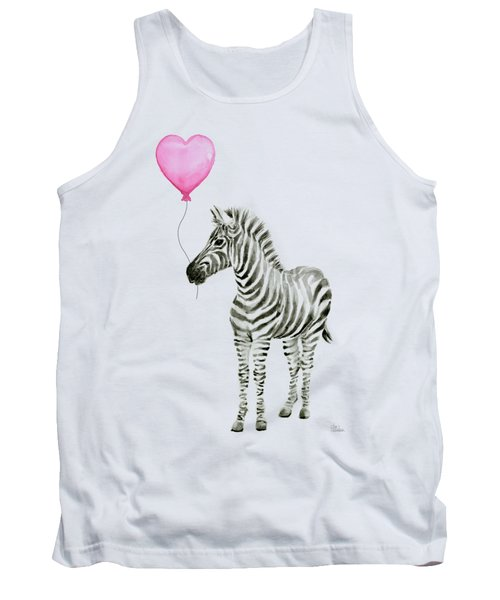 Zebra Watercolor Whimsical Animal With Balloon Tank Top
