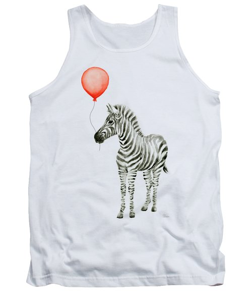 Zebra With Red Balloon Whimsical Baby Animals Tank Top