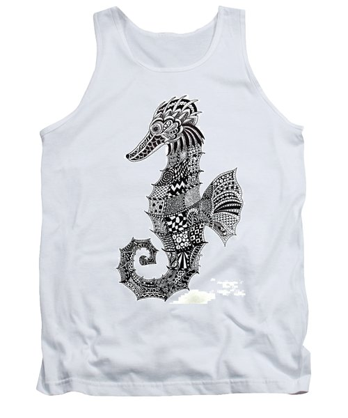 Tank Top featuring the drawing Zen Seahorse by Tamyra Crossley