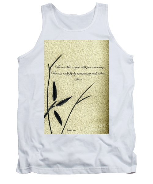 Zen Sumi 4d Antique Motivational Flower Ink On Watercolor Paper By Ricardos Tank Top