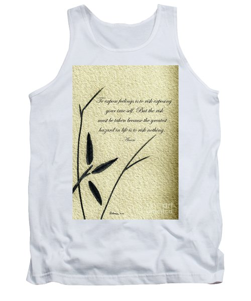 Zen Sumi 4m Antique Motivational Flower Ink On Watercolor Paper By Ricardos Tank Top