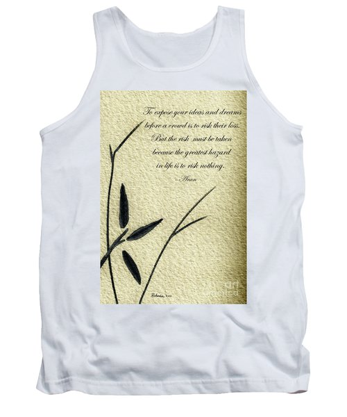 Zen Sumi 4n Antique Motivational Flower Ink On Watercolor Paper By Ricardos Tank Top