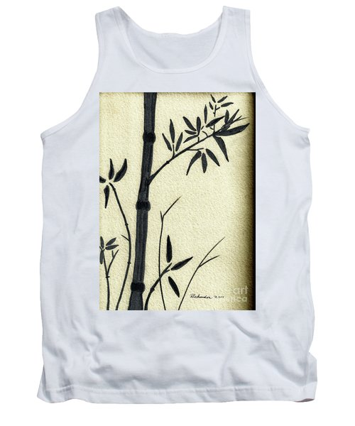 Zen Sumi Antique Bamboo 1a Black Ink On Fine Art Watercolor Paper By Ricardos Tank Top