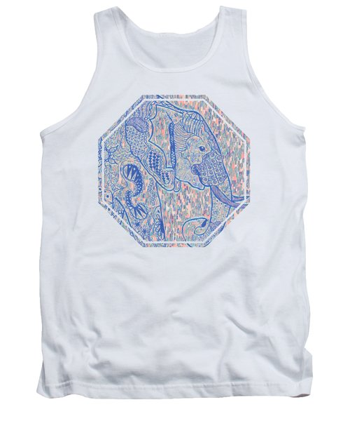 Zentangle Elephant-oil Tank Top by Becky Herrera
