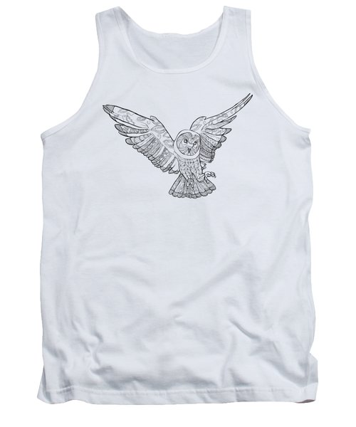 Zentangle Owl In Flight Tank Top