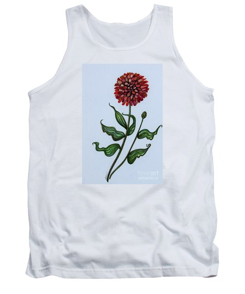 Tank Top featuring the painting Zinnia Botanical by Elizabeth Robinette Tyndall