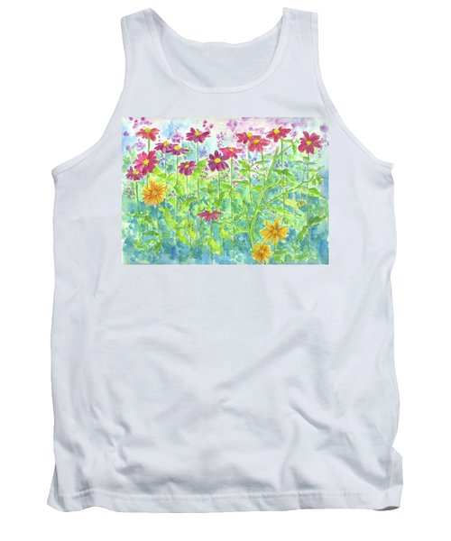 Tank Top featuring the painting Zinnias  by Cathie Richardson