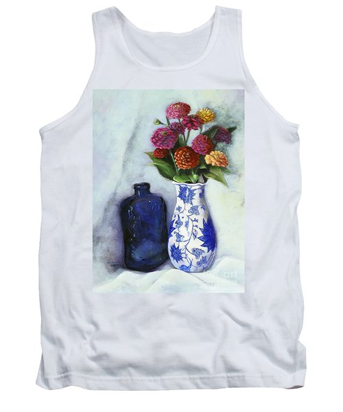 Zinnias With Blue Bottle Tank Top by Marlene Book