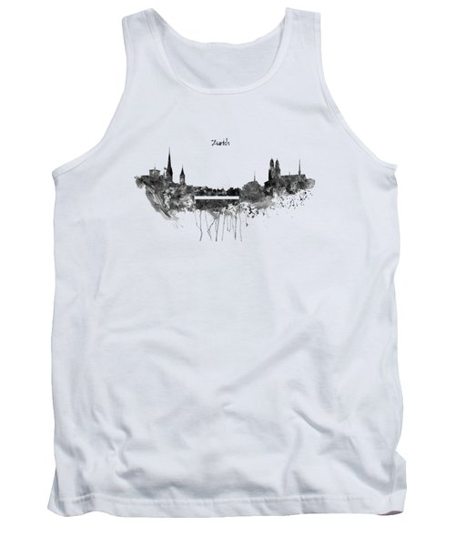 Zurich Black And White Skyline Tank Top by Marian Voicu