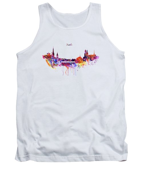 Zurich Skyline Tank Top by Marian Voicu