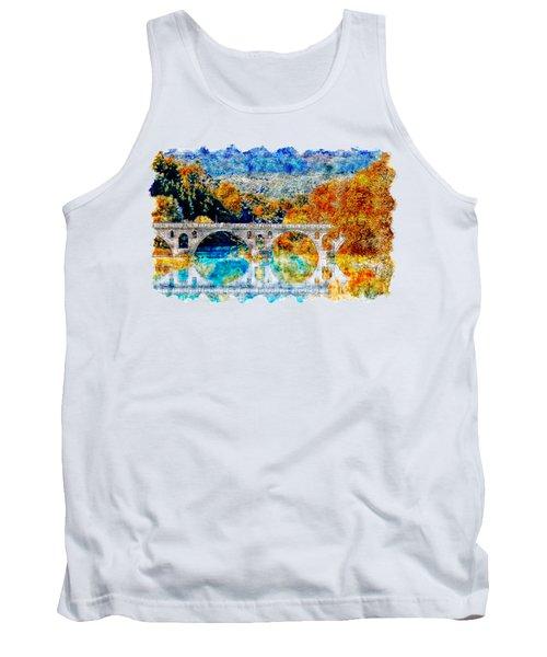 Lake Bridge Watercolor Drawing  Tank Top